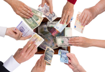 28025098 - different currencies concept crowdfunding or global financing